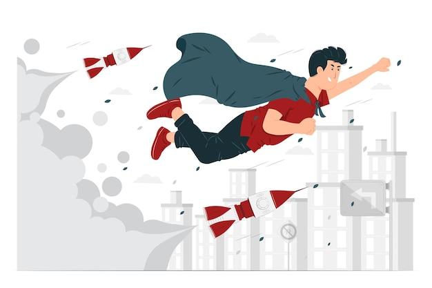 Menschen fliegen als die reise der erfolgskonzeptillustration Premium Vektoren