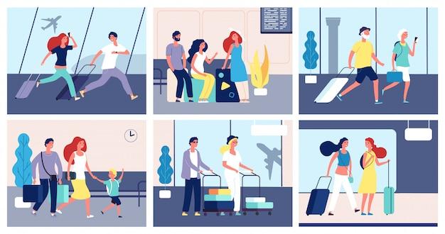 Menschen flughafen. touristen mit koffern internationales flughafenterminal passagiere reisen sommerreisetransportkonzept