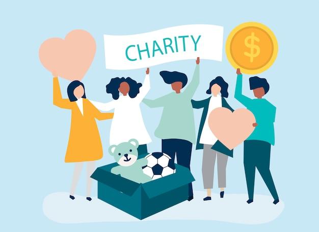 Menschen freiwillig und spenden geld