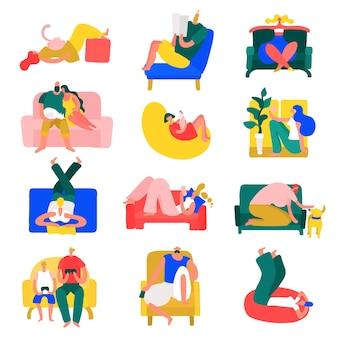 Menschen freizeitruheheim wirft bunte ikonensammlung mit entspannen in der yoga-position isolierte vektorillustration auf