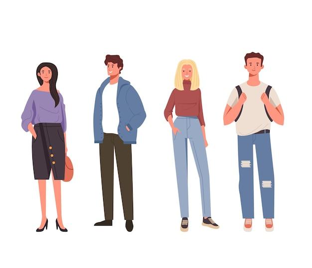 Menschen freunde charaktere set illustration