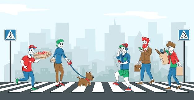 Menschen fußgänger, die auf stadtstraße durch zebra gehen