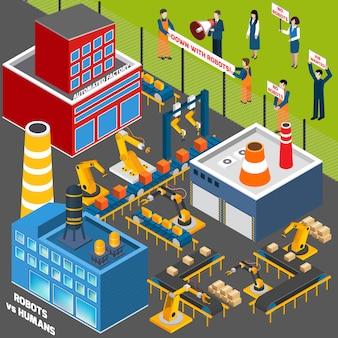 Menschen gegen die automatisierungsindustrie