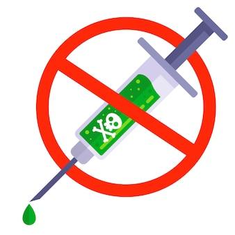 Menschen gegen impfungen. spritze mit gift. gefährliche injektion. flache vektorillustration.