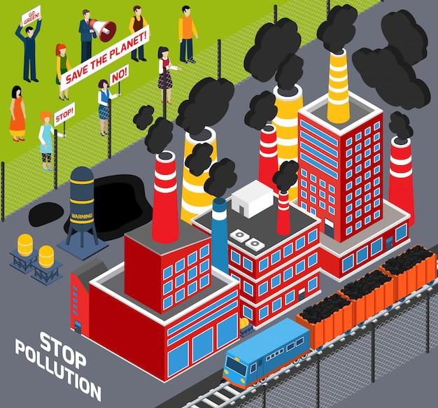 Menschen gegen industrielle umweltverschmutzung