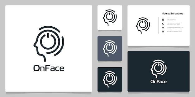 Menschen gehen mit on-button-technologie-logo-design-linien-umriss-stil mit visitenkarte voran
