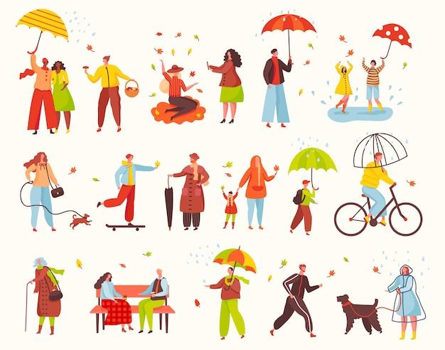 Menschen gehen mit regenschirmen unter regen in der herbstsaison parkfiguren befreien fahrradweghundevektorsatz