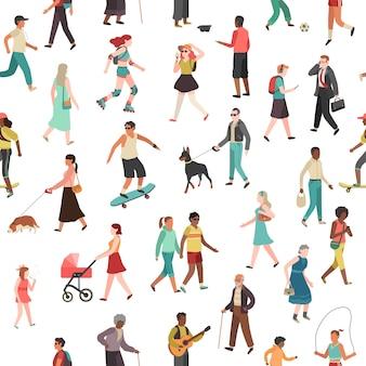Menschen gehen nahtloses muster. frauen männer kinder gruppe person spaziergang stadt menge familienpark outdoor-aktivität