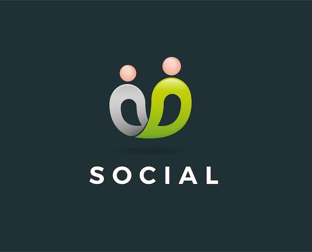Menschen, gemeinschaft, kreativzentrum, symbole für soziale verbindungen und logo-set