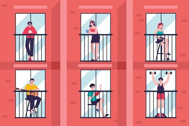 Menschen genießen aufenthalt auf balkonen