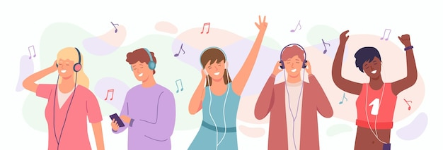 Menschen genießen musik. mann und frau in kopfhörern tanzen. glückliche teenager hören lieder auf dem handy. radio-musik-podcast-cartoon-vektor-konzept. frauen- und manngruppe hören zu und tanzen illustration