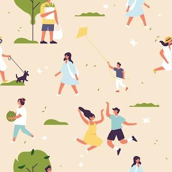 Menschen genießen und entspannen ihre zeit im freien im park. erholung in der sommersaison nahtloses muster.