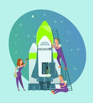 Menschen geschäftsleute bauen rakete neues start-up-projekt Premium Vektoren