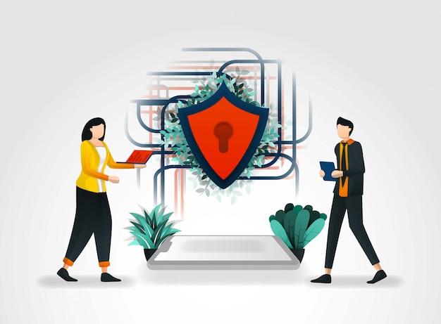 Menschen greifen auf ein gesichertes netzwerk zu