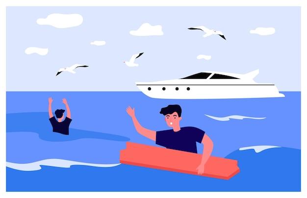 Menschen haben flache vektorillustration schiffbrüchig gemacht. zwei männer ertrinken im offenen meer und halten sich an holzbrett fest, yacht im hintergrund. gefahr, risiko, katastrophe, schwimmen, meer, naturkonzept für bannerdesign