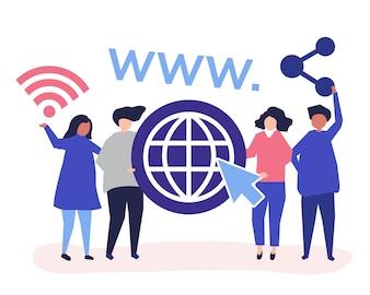Menschen halten World Wide Web Icons