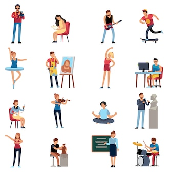 Menschen hobbys. fotograf glücklich teenager künstler schriftsteller illustrator designer cartoon set