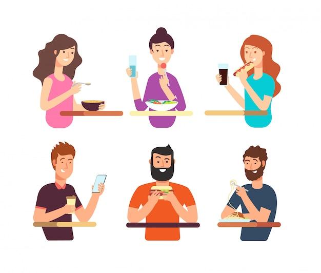 Menschen, hungrige menschen, die verschiedene lebensmittel essen. zeichentrickfilm-figuren essen den lokalisierten vektorsatz