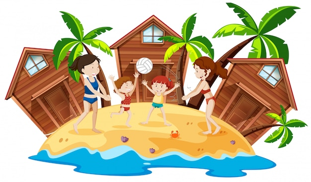 Menschen im beach resort