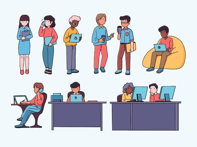 Menschen im bürovektordesign