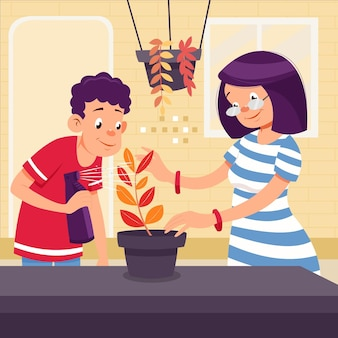 Menschen im cartoon-stil, die sich um pflanzen kümmern