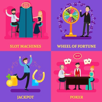 Menschen im casino square konzept