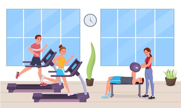 Menschen im fitnessstudio flachen stil