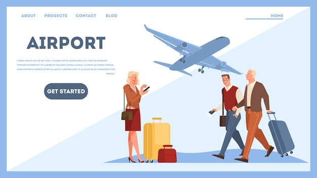 Menschen im flughafen-web-banner-konzept. idee von reisen und urlaub. ankunft im flugzeug. illustration