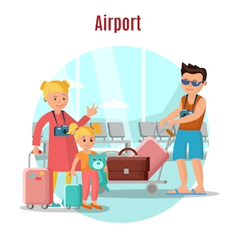 Menschen im flughafenkonzept