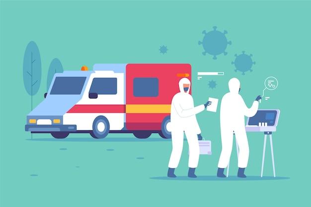 Menschen im hazmat-anzug mit trage und krankenwagen