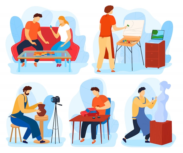 Menschen im heimhobby-illustrationsset, zeichentrickfiguren malen, basteln oder schaffen skulpturen, freunde spielen brettspiel
