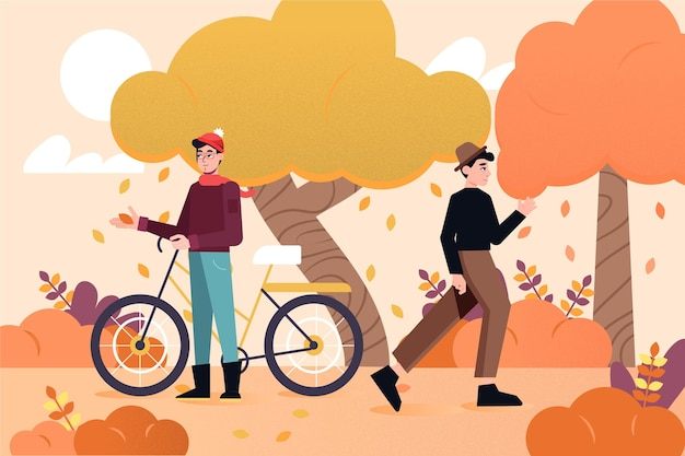 Menschen im herbstpark mit fahrrad