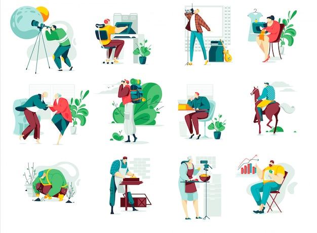 Menschen im hobbyillustrationssatz, karikaturmannfrau-hobbycharakter, die kunst, handwerk und kreative handgemachte arbeit genießt
