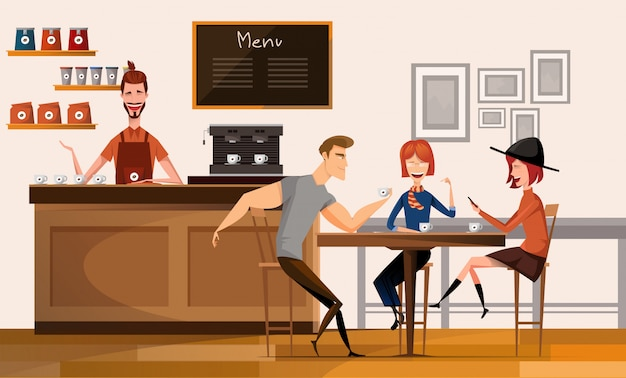 Menschen im modernen café oder café im center university campus modern workplace interior flat illustration.