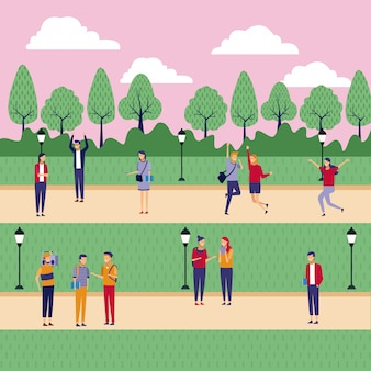 Menschen im park cartoons