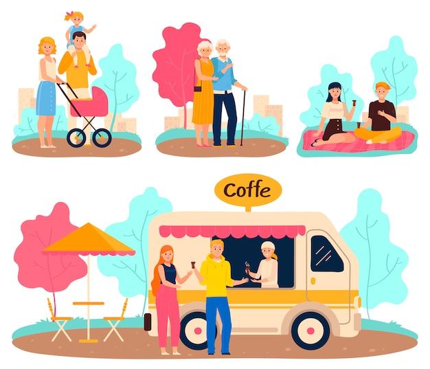 Menschen im park, familienspaziergang und romantisches datum, karikaturcharaktervektorillustration