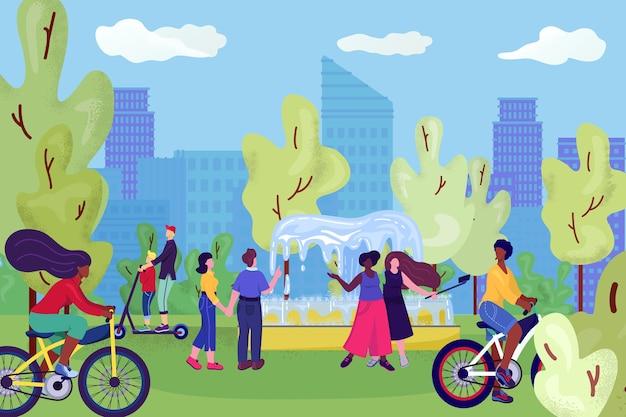 Menschen im stadtpark, auf fahrrädern, spaß in der nähe von fontain, freizeit und ruhe in der sommernatur, selphies mit freunden illustration machen. paar, das im park geht und sich an sonnigem tag entspannt.