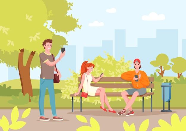 Menschen im stadtpark mit smartphones. karikatur junge frau männer freund charaktere sitzen auf bank