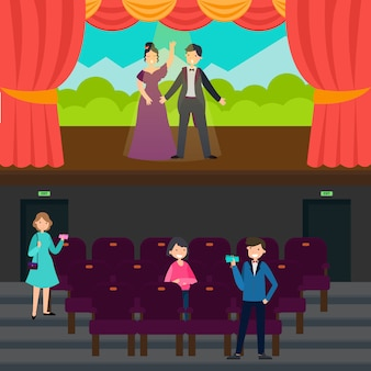 Menschen im theater horizontale banner