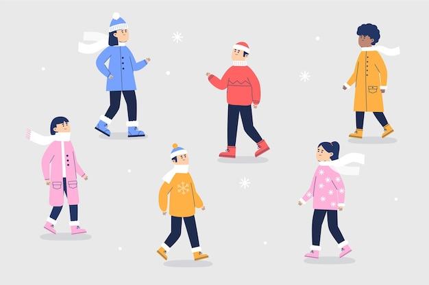 Menschen im winter gemütliche kleidung