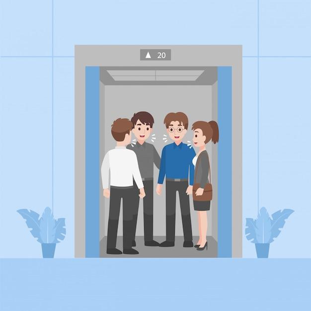 Menschen in business-outfits haben kein soziales distanzierungsgespräch in der nähe und drängen sich
