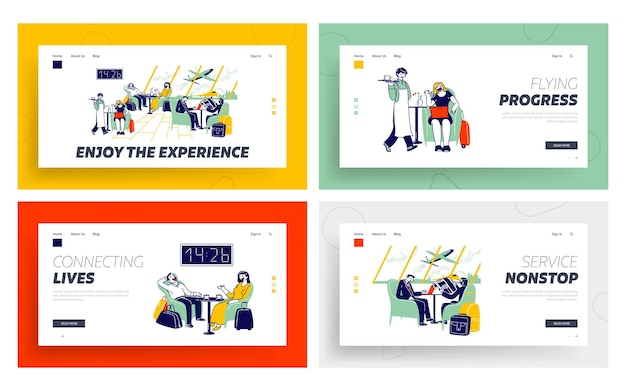 Menschen in der business lounge landing page template set.