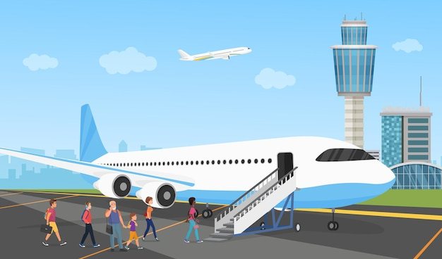Menschen in der flughafenschlange von reisenden und flugzeugpassagieren mit gepäck, die in der schlange stehen