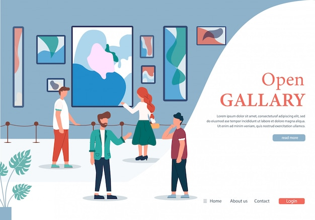 Menschen in der galerie für zeitgenössische kunst öffnen banner