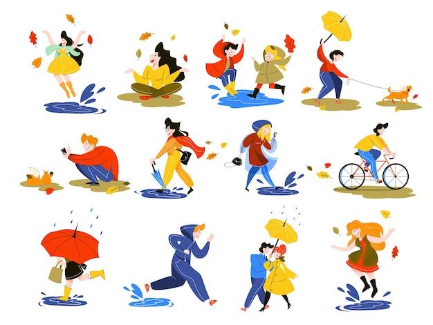 Menschen in der herbstsaison eingestellt. parkaktivität. mann auf fahrrad, mädchen mit blättern. junge mit regenschirm. illustration