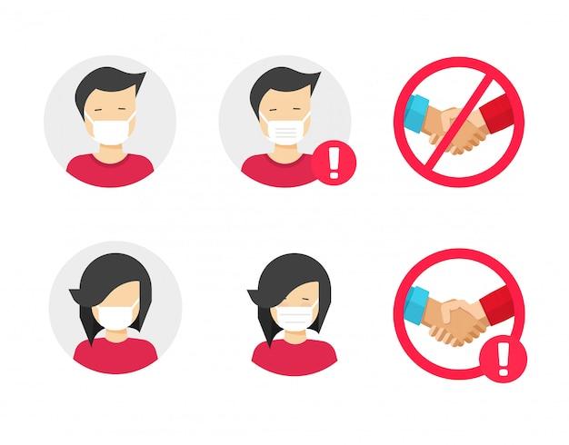 Menschen in der medizinischen gesichtschirurgie maskieren ikonensatz oder personenzeichen in den medizinischen atemschutzmaskenzeichen, um vor grippeinfektionsviruskrankheitsvektorsymbol-flache karikaturillustration zu schützen