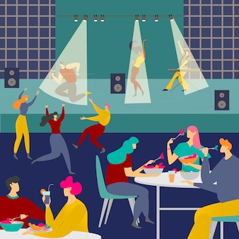 Menschen in der nachtcafé-clubillustration, karikatur erwachsene mann-frau-charaktere treffen sich im inneren clubhaus, nachtleben