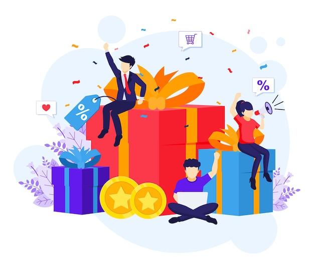 Menschen in der nähe von großen geschenkboxen und rabatten