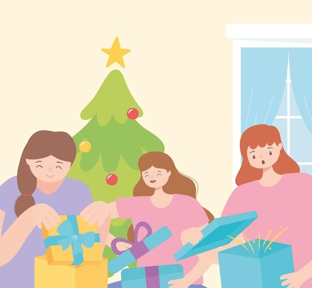 Menschen in der weihnachtsfeier, die geschenkboxen-vektorillustration öffnet