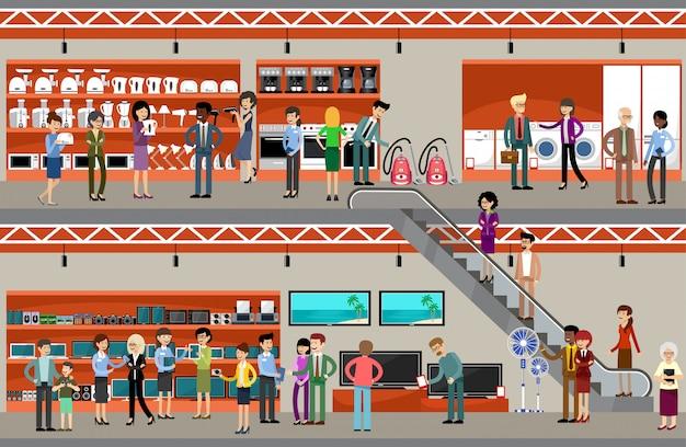 Menschen in einem supermarkt der ausrüstung und elektronik